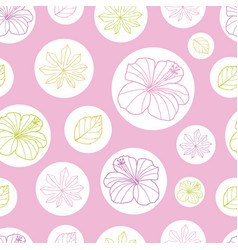 pink and white tropical leaves and hibiscus vector image