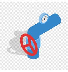Pipe with a red valve and meter isometric icon vector