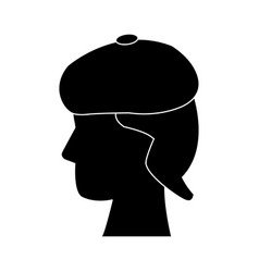 Profile head human with hat silhouette vector