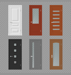 Realistic interior doors on transparent background vector