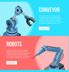 robots and conveyor banner vector image