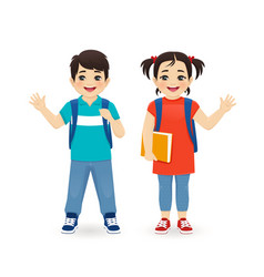 school asian boy and girl vector image