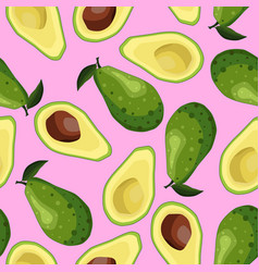 Seamless avocado background halves and whole vector