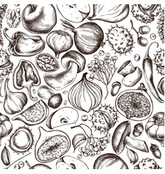 seamless pattern autumn fruits and vector image