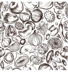 Seamless pattern of autumn fruits vector