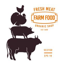 Set butcher shop labels and design elements vector