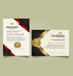 Set certificate template with ribbon stripes vector
