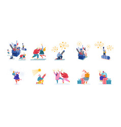 set male and female characters enjoying fireworks vector image