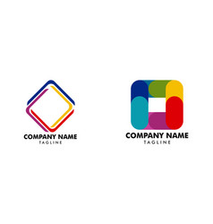 set of abstract square logo design template vector image