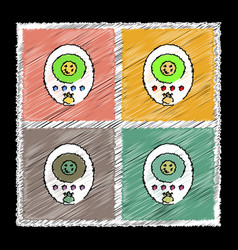 Set of flat shading style icons tamagotchi pets vector
