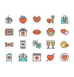 set valentines day flat color icons hearts vector image