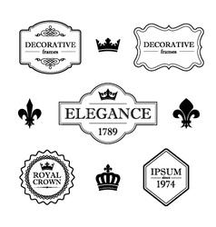set vintage flourish frames borders and signs vector image