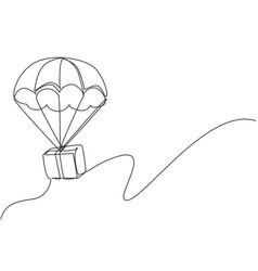 Single continuous line drawing box package flies vector