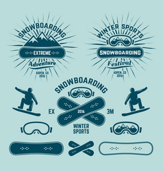 snowboarding extreme winter sports emblems vector image