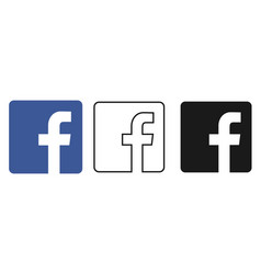 Social media icon set for facebook in different vector