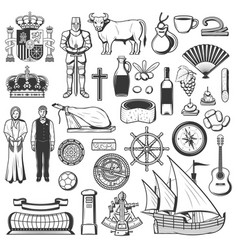spain symbols traditions food and drinks vector image