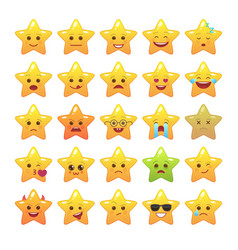 star shaped comic emoticons isolated set vector image