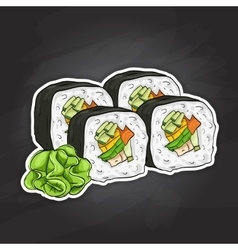 Sushi color sketch Vegetable roll vector