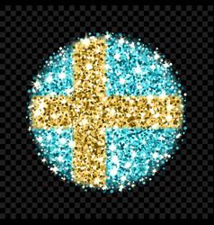 sweden flag sparkling badge vector image