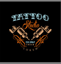 Tattoo studio logo estd 1987 retro styled emblem vector