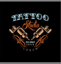 tattoo studio logo estd 1987 retro styled emblem vector image