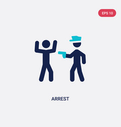 Two color arrest icon from activity and hobbies vector