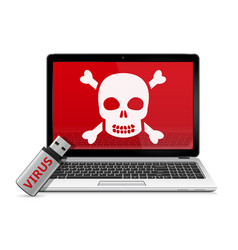 usb flash drive with computer virus and infected vector image