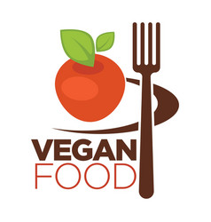 vegan food icon for vegetarian cafe menu of apple vector image