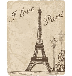 Vintage background with Eiffel Tower vector image