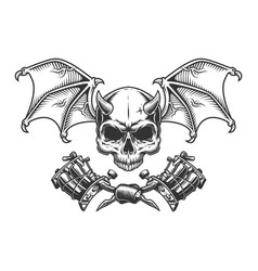 Vintage monochrome demon skull with wings vector