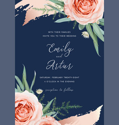 wedding invite card floral design flower rose vector image