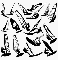 Windsurfing silhouettes vector