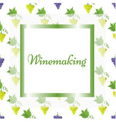 Winemaking poster in square frame with pattern vector