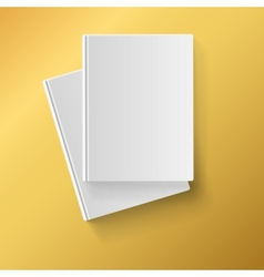Blank white books on yellow background vector image