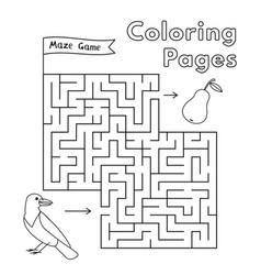 Cartoon crow maze game vector