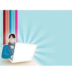 computer girl vector image vector image