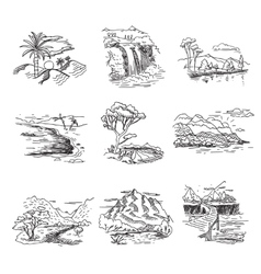 Hand drawn rough draft doodle sketch nature vector image vector image