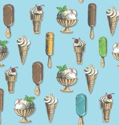 Ice cream types seamless vector image