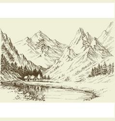 Mountain landscape sketch small alpine resort vector