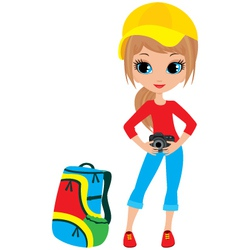pretty girl with camera vector image