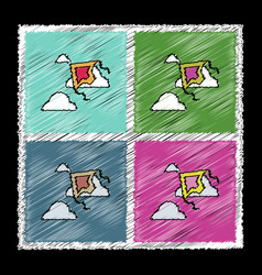set of flat shading style icons kids toy kite vector image