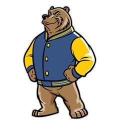 bear school mascot wear varsity jacket vector image vector image