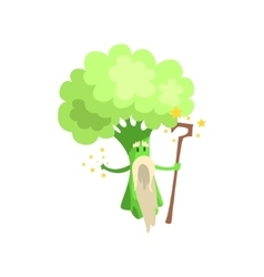 Broccoli Wizard With Staff And White Beard Part vector image vector image