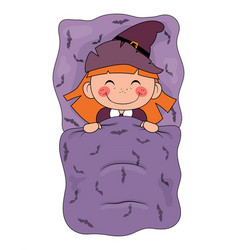 cute cartoon witch sleeping in a bed isolated on vector image