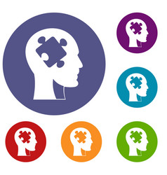 head with puzzle icons set vector image vector image