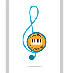 Musical logo treble clef vector image
