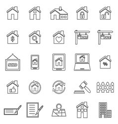 Real estate line icons on white background vector image