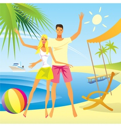 Romantic couple enjoy vacation on the beach vector image vector image