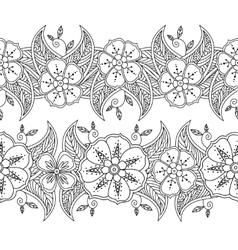Set of two seamless pattern floral borders vector image vector image