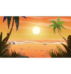 view on sunset at the beach vector image vector image